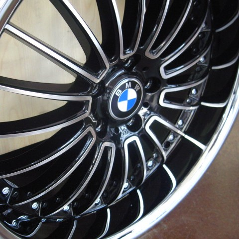 Bmw Wheels Rim 325i 325xi 325ci E46 E90 M3 Diamond Cut Black Inner Spokes Chrome Lip 19